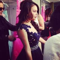 "TV star Janel Parrish from ""Pretty Little Liars"" models for Camille La Vie"