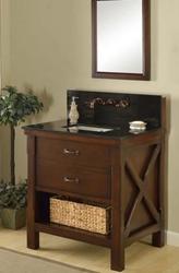 "Direct Vanity 32S1-EsBk-WM 32"" Espresso Xtraordinary Spa Premium single vanity sink cabinet with black granite"