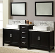 "Direct Vanity 7080D1-EWC 84"" Horizon Double Vanity Sink Console with Ebony Finish, White Carrera Marble Wall Mount Faucets Ready"