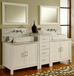 "Direct Vanity 7080D1-WWC 84"" Horizon Double Vanity Sink Console with Pearl White Finish, White Carrera Marble Wall Mount Faucets Ready"