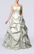 White Fairytale Outdoor A-line Strapless Taffeta Floor Length Bridal Gowns