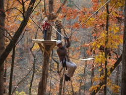 Leaf peeping while zip lining at Historic Banning Mills