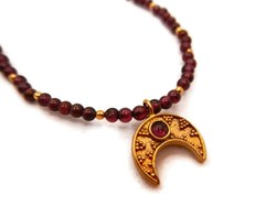 Garnet Half Moon Necklace from Jewelry by Andrea