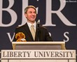 Virginia Attorney General and gubernatorial candidate Ken Cuccinelli shares his platform during Liberty University Convocation.