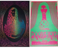 Classic psychedelic Seattle 1967 Doors Eagles Auditorium concert posters