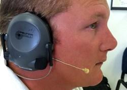 Earset mic worn with ear muffs