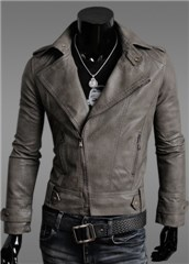 3-Ruler Men's Grey Moto Zip Faux Leather Jacket