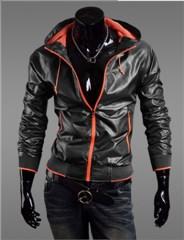 3-Ruler Men's Casual Black Fluorescence Orange Jacket Outerwear with Hood