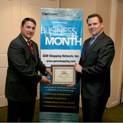 PJ Lynch (right) with Vince DeSilva Sr. VP, Membership Services from the Gwinnett Chamber of Commerce.
