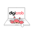 Digicrab, the digital marketing agency mascot, on a laptop