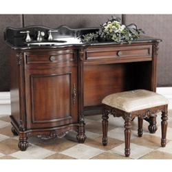 "Classic Design 55"" Single Sink Dressing Bathroom Vanity, Black Granite R52-55D"