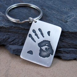 Fine Silver Child's Handprint Keychain