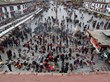 Spectacular view of pilgrims in front of Jokhang Temple in Lhasa