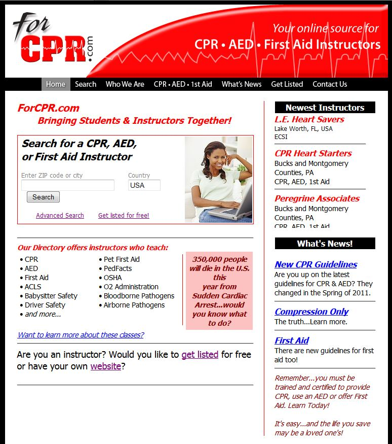 launches a new website directory of first aid aed and cpr training instructors. Black Bedroom Furniture Sets. Home Design Ideas