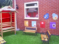 Playground Basics products brightening Little House Day Nursery's outdoor space