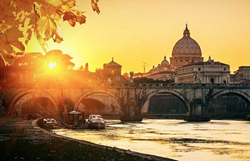 A view of  St. Peter's Basilica in Rome Italy at sunset