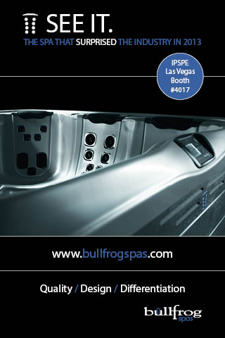 Bullfrog spas to unveil new hot tub concepts in las vegas for Pool spa trade show las vegas
