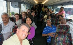 Joseph Federico and participants on the bus on the way to Atlantic City for the Lou Costello Charity Tent fundraiser