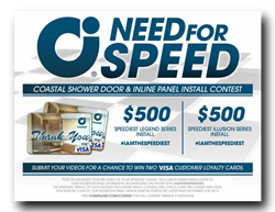 The Fastest Shower Door Installer Wins $1000 From Coastal Industries