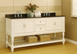 70″ Pearl White Mission Style Open Shelf Bathroom Vanity From Direct Vanity