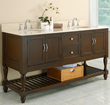 "Direct Vanity 6070D10-EsB 70"" Mission Style Double Bathroom Vanity Sink Console with Beige Marble Top and Espresso Finish"