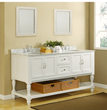 "Direct Vanity 6070D10-WW-C 70"" Pearl White Mission Style Double Bathroom Vanity Sink Console with Turn Legs and Carrera Marble Top"