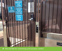 Suprema BioLite Net for Panorama Towers swimming pool access control.