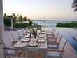 A photograph of the outdoor dining at Villa Blanche, Providenciales, Turks and Caicos Islands