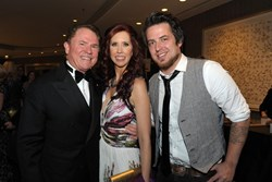 Gateway for Cancer Research Chairman Richard J Stephenson with Dr. Stacie Macari and 2010 American Idol winner Lee DeWyze at the annual Cures Gala to benefit cancer research.