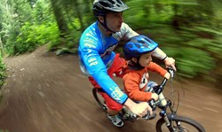 Mac Ride kids bike seat in action, ridden by dad Glen Dobson and son Macinley
