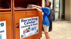Donating at an ATRS Recycling Bin
