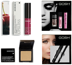 Ideal Christmas make up gifts from the GOSH and KORRES make-up product ranges.