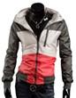3-Ruler Bestseller Men's Color Block Deep Grey/Gray Beige Red Thin Jacket Outerwear with Hood