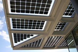 Eclipsall BIPV canopy installation on a green building prototype in Mississauga Ontario