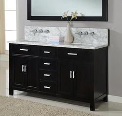 """Direct Vanity 63D7-EWC 63"""" Hutton Double Vanity Sink Console with Ebony Finish, White Carrera Marble Wall Mount Faucets Ready"""