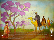 Queen Mingzhi, hidden by cherry blossoms, surprises King Caspar (a scene from 3 Wise Queens)