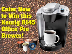 Premium Waters is giving away a Keurig B145 Office Pro Brewing System and two boxes of coffee to one lucky winner.