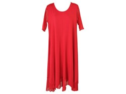 "Comfy USA ""Debra"" Swing Dress with Mesh Sleeves & Hem--Red"
