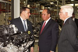West Virginia Gov. Earl Ray Tomblin (center) and Sec. Commerce Keith Burdette (right) and Sogefi Plant Manager Troy Thomas (left)