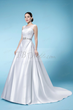 Stylish A-Line Beteau Neckline Beading Chapel Train Wedding Dress