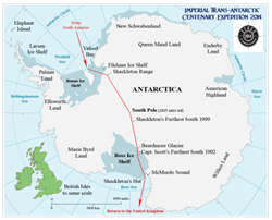 The route to be followed by the Imperial Trans-Antarctic Centenary Expedition 2014