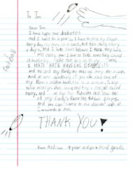 Type 1 diabetic childs letter to Tom Brady