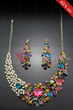 Dramatic Silvery Alloy with Colourful Rhinestone Jewelry Set
