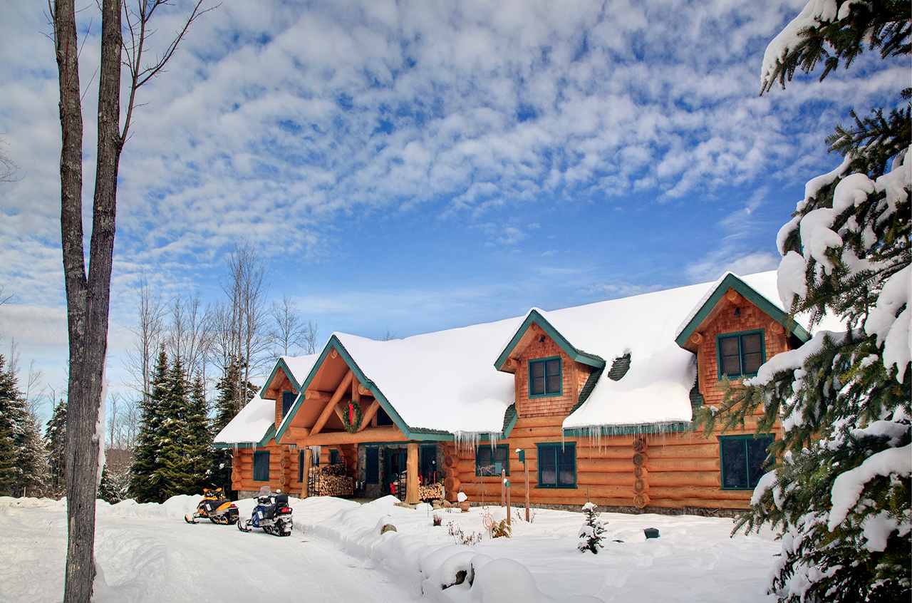 New hampshire log cabin b b giving away christmas tree for Ski cabins in new hampshire