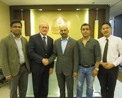 Second from left Glenn de Souza with Shawkat Hossain, middle, with Maple Leaf Hotels and Resorts