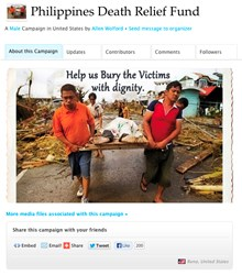 The Philippines Death Relief Fund has been set up by www.FuneralFund.com to aid with the burial needs of so many.