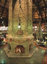 Christmas hotel lobby at Fairmont Montebllo, Quebec