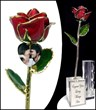 Real 24K gold rose, personalized photo, custom engraved crystal vase.