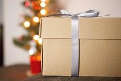 Image of present near Christmas tree