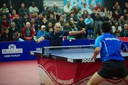 Austria's Daniel Habesohn competing at the 2012 North American Teams Table Tennis Championships